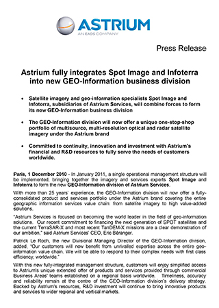 Astrium fully integrates Spot Image and Infoterra into new GEO-Information business division