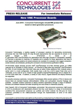 Concurrent Technologies reloads VME product line  based on latest generation processors
