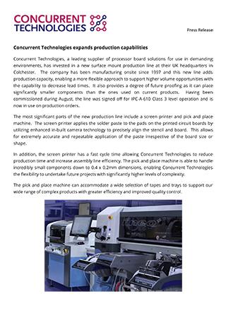 Concurrent Technologies expands production capabilities