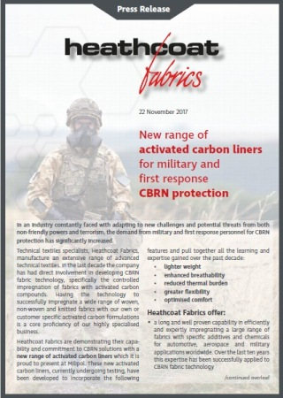 New range of activated carbon liners for military