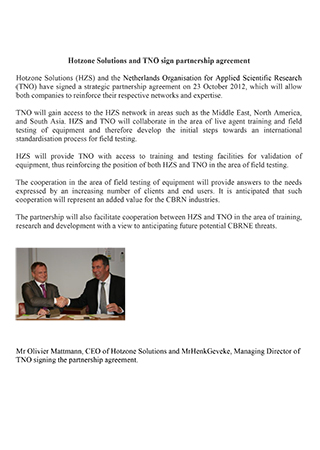 Hotzone Solutions and TNO sign partnership agreement