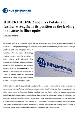 HUBER+SUHNER: Dynamic growth in the first half of the year