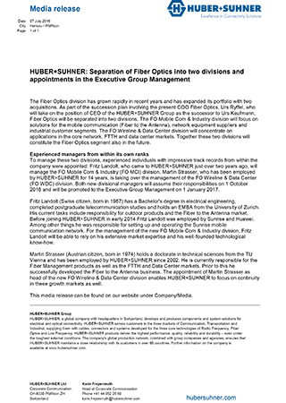 HUBER+SUHNER: Separation of Fiber Optics into two divisions and appointments in the Executive Group Management