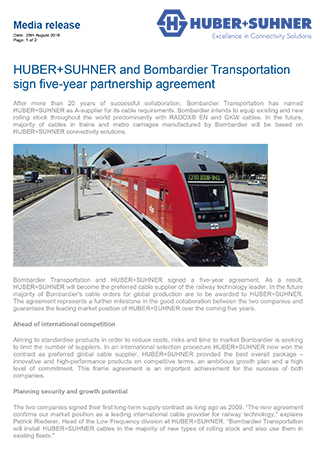 HUBER+SUHNER and Bombardier Transportation sign five-year partnership agreement