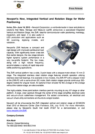 Newports New, Integrated Vertical and Rotation Stage for Wafer Positioning