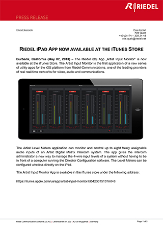 Riedel Ipad App Now Available At The Itunes Store