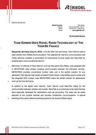 Team Garmin Uses Riedel Radio Technology At The Tour De France