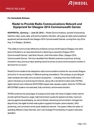Riedel to Provide Radio Communications Network and Equipment for Glasgow 2014 Commonwealth Games