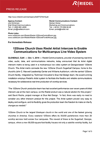 12Stone Church Uses Riedel Artist Intercom to Enable Communications for Multicampus Live Video System