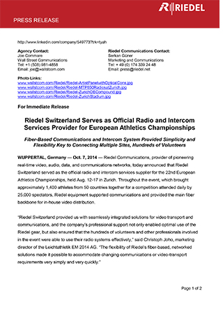 Riedel Switzerland Serves as Official Radio and Intercom Services Provider for European Athletics Championships