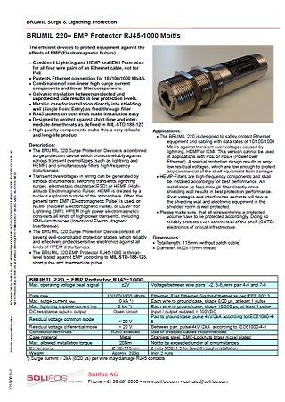 EMP Protector RJ45-1000 Mbit/s - BRUMIL 220