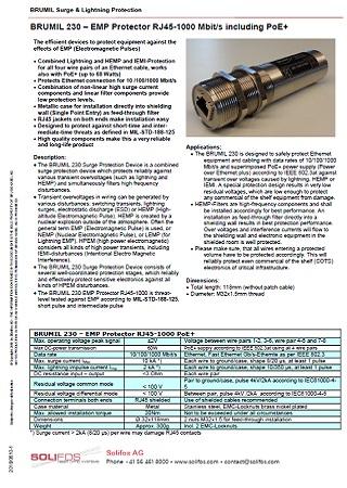 EMP Protector RJ45-1000 Mbit/s including PoE+ - BRUMIL 230