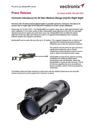Vectronix Introduces Its All New Medium Range Clip-On Night Sight