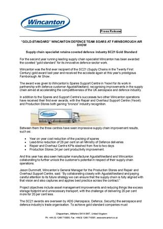 Gold-Standard Wincanton Defence Team Soars At Farnborough Air Show