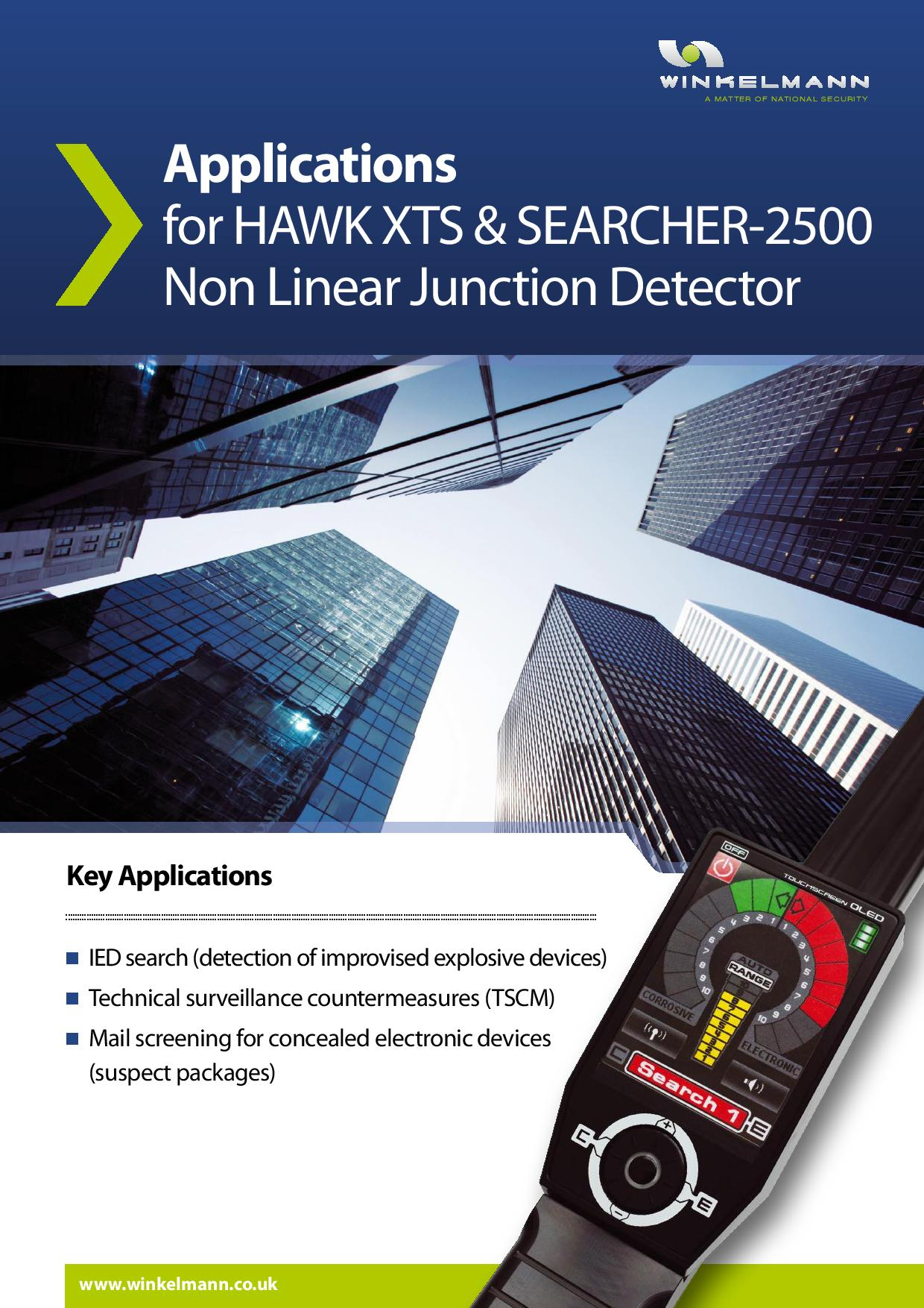 Applications for HAWK XTS & SEARCHER-2500 Non Linear Junction Detector